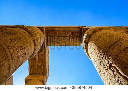 Columns In Great Hypostyle Hall Of Karnak Temple. Looking Up