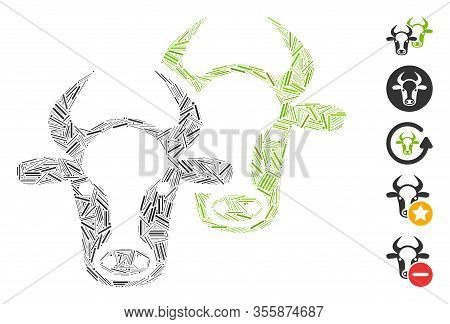 Hatch Mosaic Based On Livestock Icon. Mosaic Vector Livestock Is Composed With Randomized Dash Eleme