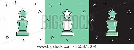 Set Award Cup Icon Isolated On White And Green, Black Background. Winner Trophy Symbol. Championship