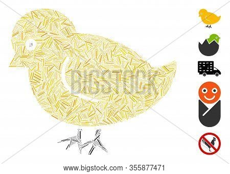 Dash Mosaic Based On Nestling Chick Icon. Mosaic Vector Nestling Chick Is Composed With Random Dash