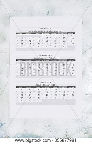 Hijri 1441 Calendar Year. Islamic Calendar 2020. January, February And March Months