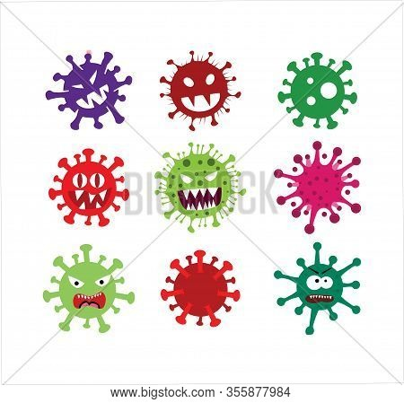 Set Of Corona Virus 2020 .covid-19.corona Virus In Wuhan Vector Illustration.virus Covid 19-ncp