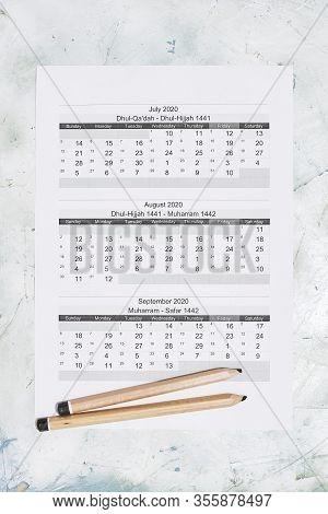 Hijri 1441-1442 Calendar Year. Islamic Calendar 2020. July, August And September Months