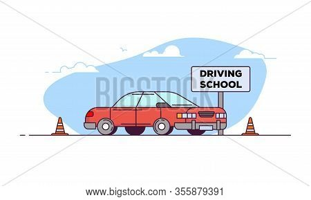 Driving School Banner. Side View Of Red Car. Line Style Vector Illustration. Vehicle For Students On
