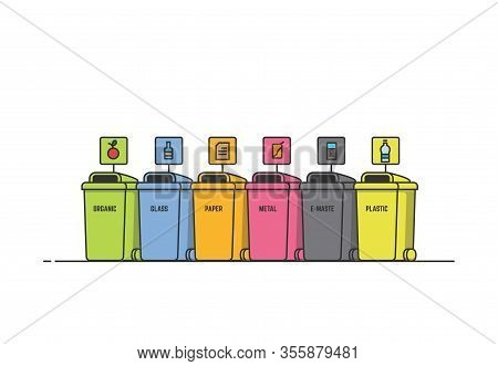 Waste Bins Illustration. Waste Containers For Different Disposal. Eco Friendly Sorting Bins. Environ
