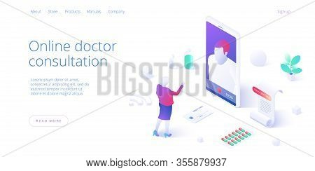 Online Doctor Consultation Call Or Visit Concept In Isometric Vector Design. Woman Using Internet On