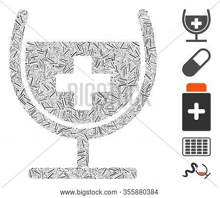 Line Mosaic Based On Remedy Syrup Glass Icon. Mosaic Vector Remedy Syrup Glass Is Designed With Rand
