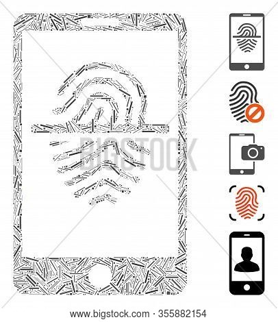 Dash Mosaic Based On Smartphone Fingerprint Scanner Icon. Mosaic Vector Smartphone Fingerprint Scann