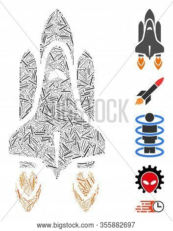Line Mosaic Based On Space Shuttle Launch Icon. Mosaic Vector Space Shuttle Launch Is Composed With
