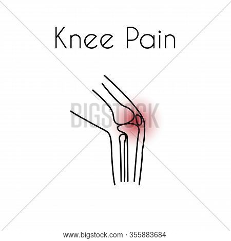 Knee Pain Linear Icon. Vector Abstract Minimal Illustration Of A Leg With Red Spot On The Knee Suffe