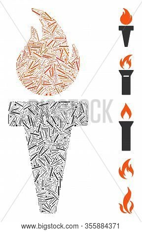 Line Mosaic Based On Torch Fire Icon. Mosaic Vector Torch Fire Is Composed With Random Line Elements