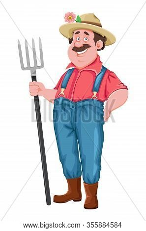 Farmer Cartoon Character. Cheerful Farmer Holding Pitchfork. Stock Vector Isolated On White