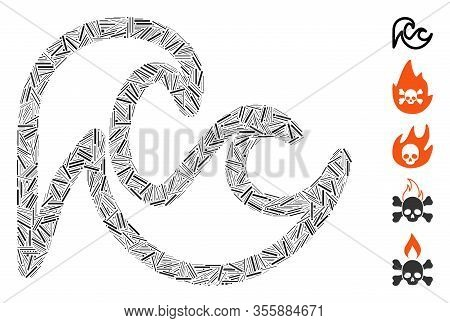 Hatch Mosaic Based On Tsunami Icon. Mosaic Vector Tsunami Is Composed With Randomized Hatch Items. B