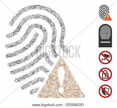 Dash Mosaic Based On Wrong Fingerprint Icon. Mosaic Vector Wrong Fingerprint Is Created With Randomi