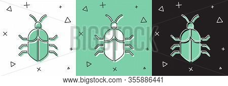 Set System Bug Concept Icon Isolated On White And Green, Black Background. Code Bug Concept. Bug In