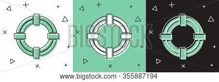 Set Lifebuoy Icon Isolated On White And Green, Black Background. Life Saving Floating Lifebuoy For B