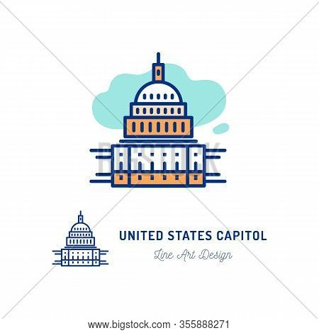 United States Capitol Icon. Thin Line Art Colorful Icons Capitol Building, Congress Usa. Vector Illu