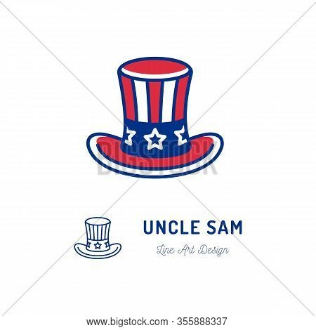Uncle Sam Hat Icon. Thin Line Art Colorful Sign. National Tradition, Symbol Of America, Vector Flat