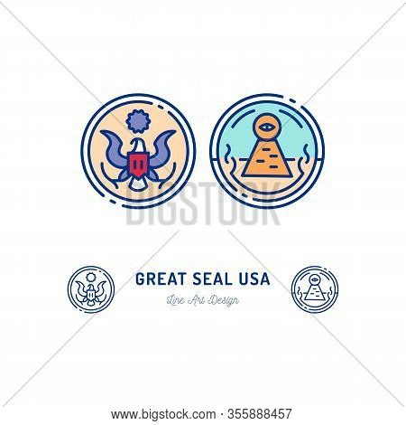 Great Seal Of The United States Line Icon. Stylized Linear Icon, Obverse And Reverse Side Of The Gre