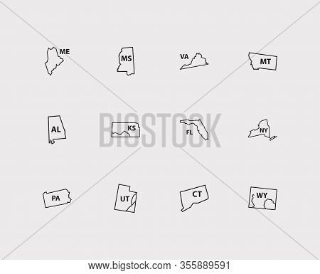 Cartography Icons Set. Alabama And Cartography Icons With Florida, Pennsylvania And New York. Set Of