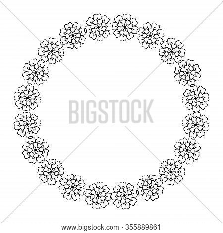 Floral Wreath. T He Flower F Rame Is D Rawn I N T He D Oodle Style .black And White Illustration Iso