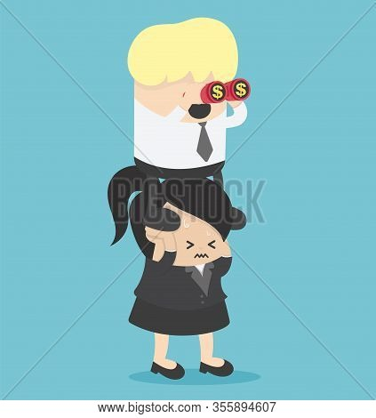 Concept Cartoon Illustration Exploitation Of Colleagues In The Work Of Business Women