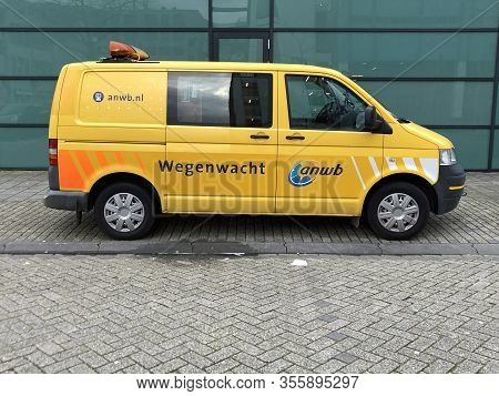 Almere, The Netherlands - March 11, 2020: Dutch Yellow Roadside Assistance Service Van.