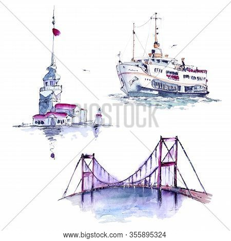 Watercolor Set With Ferry, Bosphorus Bridge And Maiden's Tower, Istanbul, Turkey. Hand Painted Isola
