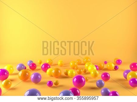 Colorful Plastic Balls Scattered on the Floor Bright Background. 3D Illustration.