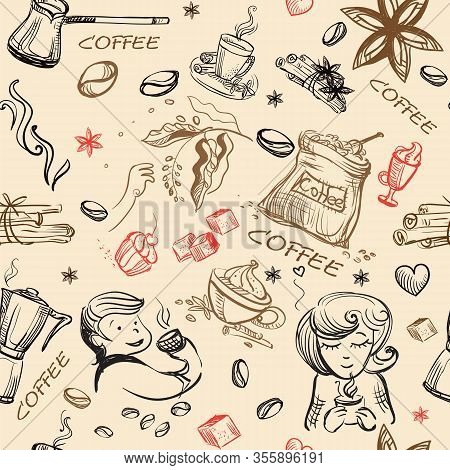 Seamless Pattern Doodle Style Coffee Theme. Vector Hand Drawing Coffee Icons And People Dinking Coff