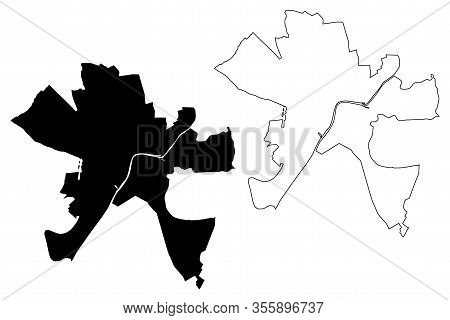 Szeged City (hungary, Csongradr County) Map Vector Illustration, Scribble Sketch City Of Szeged Map