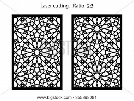 Cnc Set Of Decorative Vector Panels For Laser Cutting. Template For Interior Partition In Arabesque