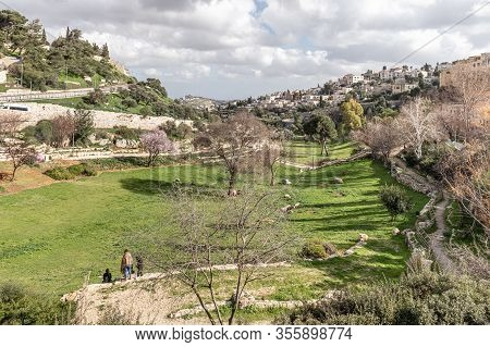 Jerusalem, Israel, February 29, 2020 : Gey Ben Hinnom Park - Called In The Holy Books As The Blazing