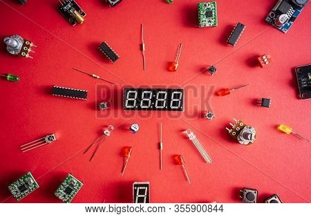 Micro Electronics Arduino Diy Components Over Red  Background, Top View, Copy Space. Microcontroller