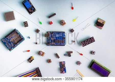 Sankt-petersburg, Russia - February 28, 2020: Arduino Uno Board On Light Background. Micro Eleectron