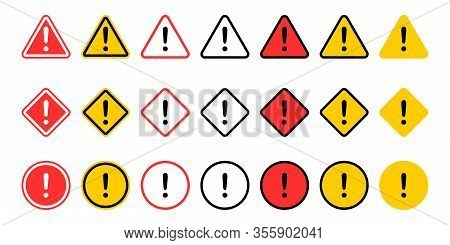 Caution Signs Collection. Symbols Danger. Exclamation Mark Icon. Caution And Warning Signs, Isolated