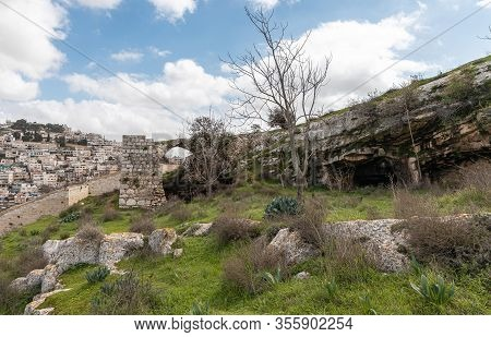 Jerusalem, Israel, February 29, 2020 : The Ruins Of An Old Christian Monster Are In The Gey Ben Hinn