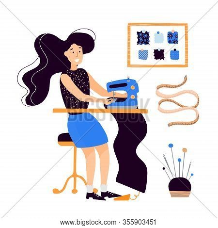 Vector Clip-art Girl Seamstress Sews On An Electro-sewing Machine. Flat Illustration Hand Drawn On A