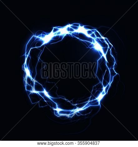 Realistic Lightning Ring, Energy Ball, Magic Sphere, Blue Color Plasma On Dark Background. Isolated