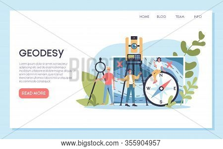 Geodesy Science Concept. Land Surveying Technology. Engineering