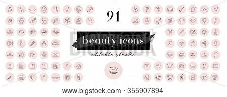 Highlight Covers Backgrounds. Set Of Beauty Icons. Editable Stroke. It Is Well Suited For Bloggers,