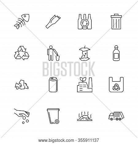 Garbage, Rubbish, Dump Outline Icons Set - Black Symbol On White Background. Garbage, Rubbish, Dump
