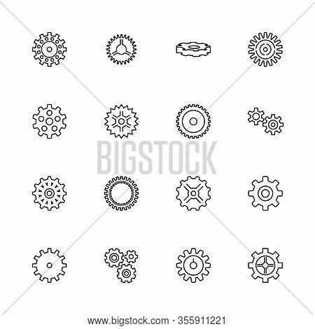 Bicycle Gear, Cogwheel Outline Icons Set - Black Symbol On White Background. Bicycle Gear, Cogwheel