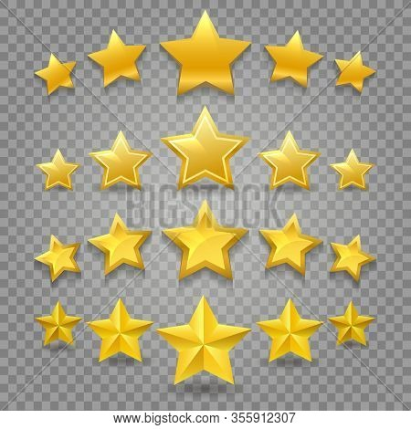 Five Star Review Vector Image. Abstract 5 Stars Symbols Ranking, Yellow Rating And Quality Clipart O