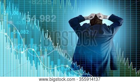 Financial Crisis And Economy Or Economic Fear And Stock Market Selling With A Stock Broker Or Financ