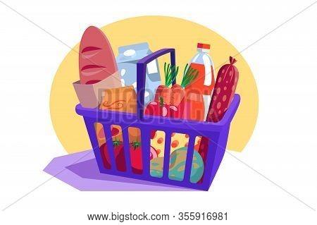 Shopping Basket Full Of Fresh Groceries Vector