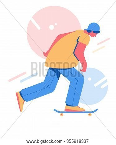 Skateboarding Teen Collection. Young Man Riding On A Skateboard.