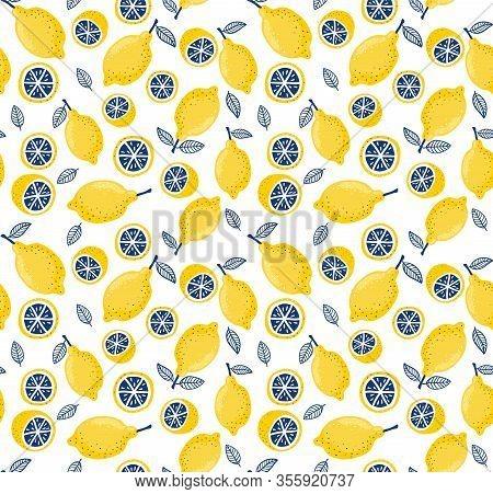 Summer Seamless Pattern With Fresh Bright Juicy Lemons