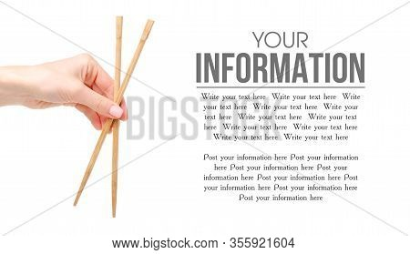 Sushi Sticks Asian In Hand On A White Background Isolation, Space For Text