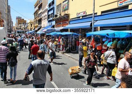 Sao Paulo, Brazil - October 6, 2014: People Shop In Sao Paulo. With 21.2 Million People Sao Paulo Me